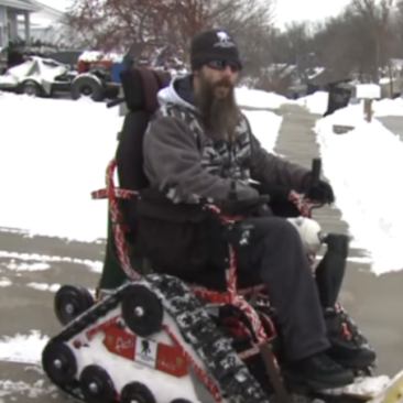 WATCH: A veteran turned his wheelchair into a snowplow